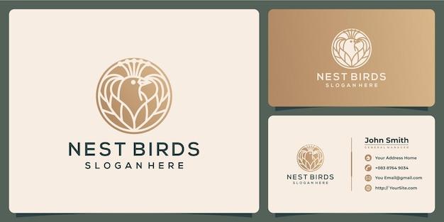 Logo e biglietto da visita di lusso dell'uccello del nido