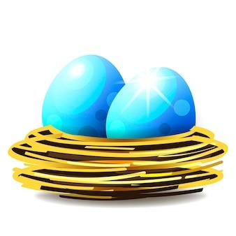 Logo di nido, vettore di nido di uccello e uova su sfondo bianco