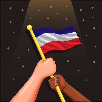 Simbolo della bandiera nazionale olandese per il concetto di celebrazione del giorno dell'indipendenza 26 luglio nel fumetto illustra