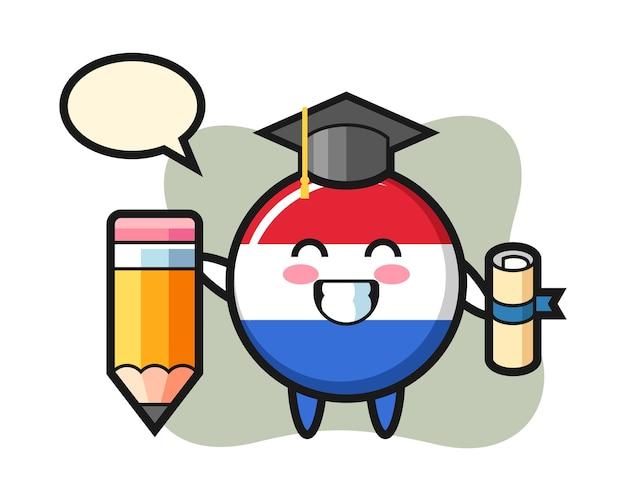 Il fumetto dell'illustrazione del distintivo della bandiera dei paesi bassi è la laurea con una matita gigante