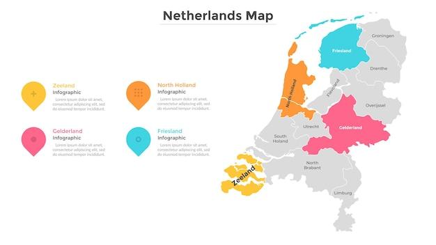 Mappa dei paesi bassi divisa in regioni o province. territorio del paese con confini regionali. modello di progettazione infografica. illustrazione vettoriale piatta per presentazione, guida turistica o brochure.