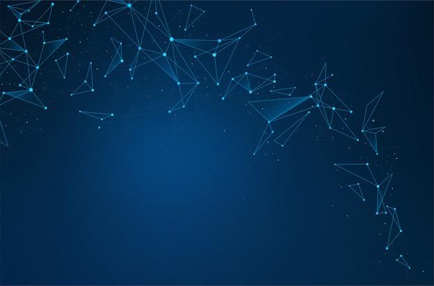 Connessioni astratte di rete con punti e linee su sfondo blu.