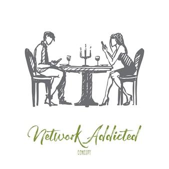 Concetto dipendente dalla rete. la giovane coppia disegnata a mano in un caffè presta più attenzione ai loro telefoni che a vicenda isolata illustrazione vettoriale.