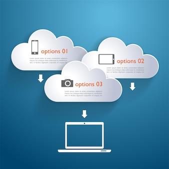 Nuvole di rete con elementi ed icone infographic
