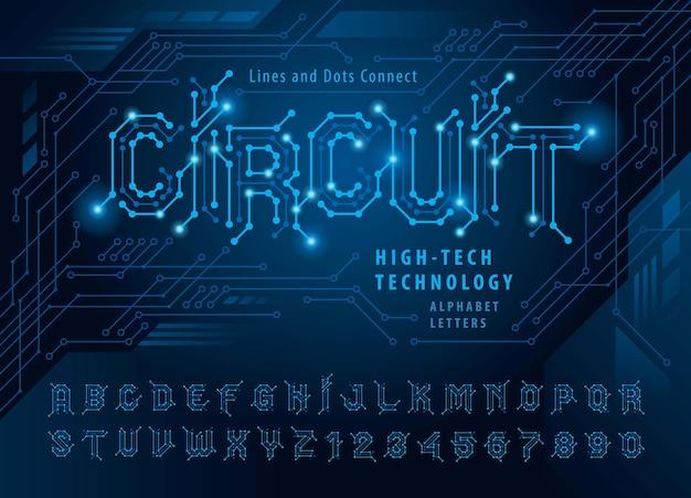 Rete collegamento punto poligono lettera punto connessione linea circuito futuristico set di lettere tecnologia