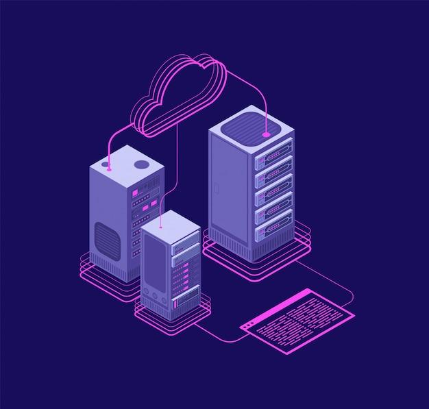 Soluzioni di hosting di rete, centro dati con servizi, concetto isometrico di vettore di supporto amministrativo del sito web