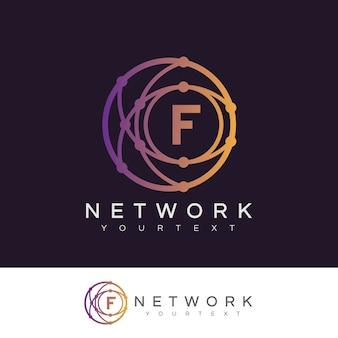 Rete iniziale lettera f logo design