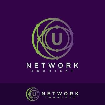 Iniziale di rete lettera u design del logo