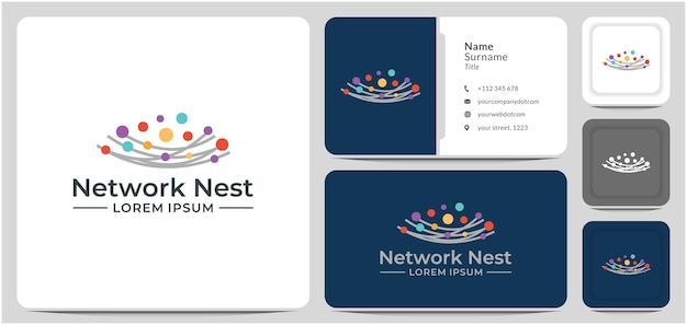 Network nest logo design vector line connect data