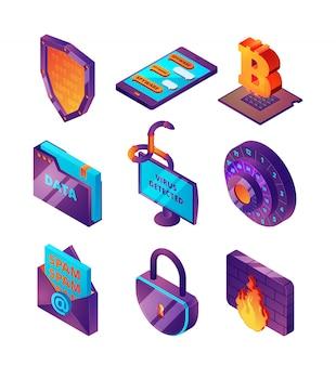 Protezione della rete 3d. illustrazioni isometriche di sicurezza delle pagine e dei virus della pesca online di web hacker del computer