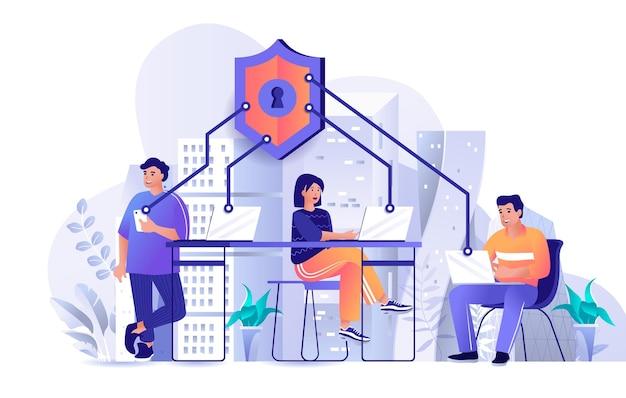 Illustrazione di concetto di design piatto di sicurezza di rete di personaggi di persone