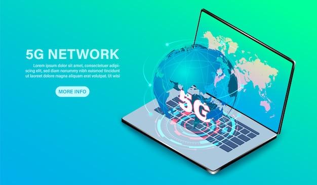 Tecnologia di rete ad alta velocità sul computer portatile del computer isometrico