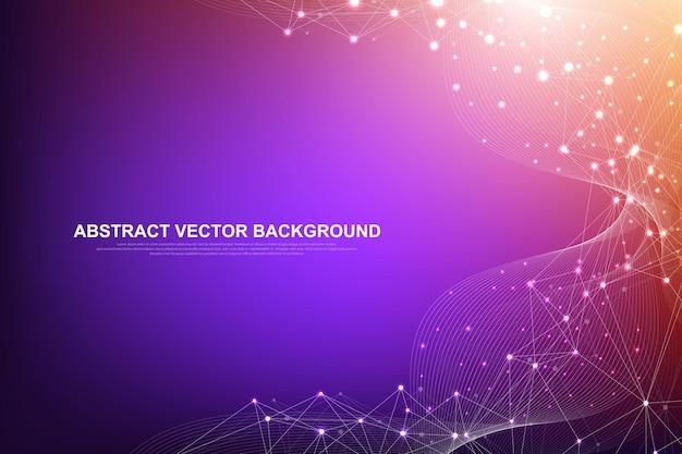 Tecnologia astratta di concetto di connessioni di rete con punti e linee