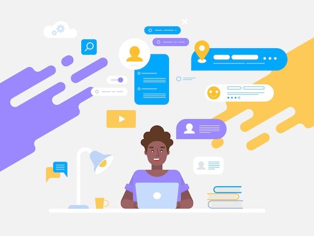 Networking discutere social network, notizie, social network, illustrazione di chat possono essere utilizzati per banner web, infografiche, immagini di eroi. Vettore Premium