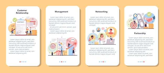 Set di banner per applicazioni mobili di rete
