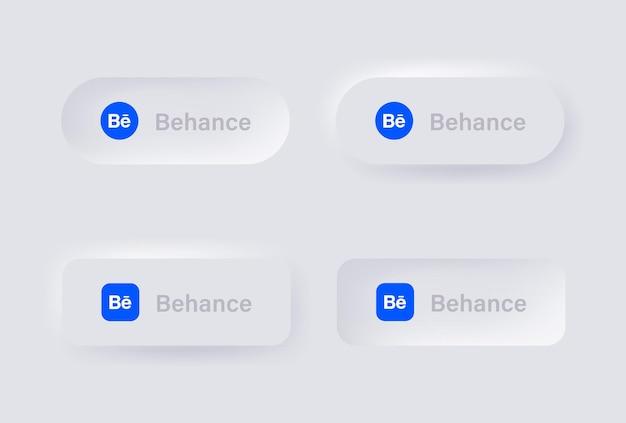 Icona del logo neumorphic behance per i più popolari loghi delle icone dei social media nei pulsanti del neumorfismo ui ux