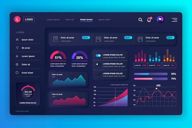 Kit ui dashboard neumorfo. modello del pannello di amministrazione con elementi infografici, diagramma hud, informazioni grafiche. dashboard del sito web per l'interfaccia utente e la pagina web di progettazione ux. stile neumorfismo.