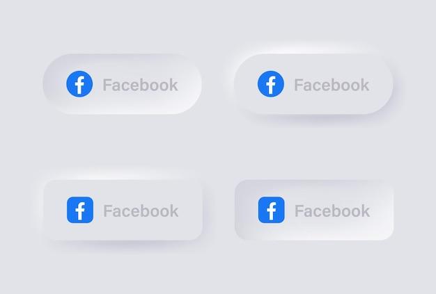 Icona del logo neumorfico di facebook per le popolari icone dei social media loghi nei pulsanti di neumorfismo ui ux