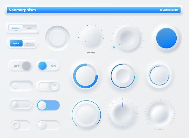 Kit interfaccia utente manopola neumorphic, applicazione mobile