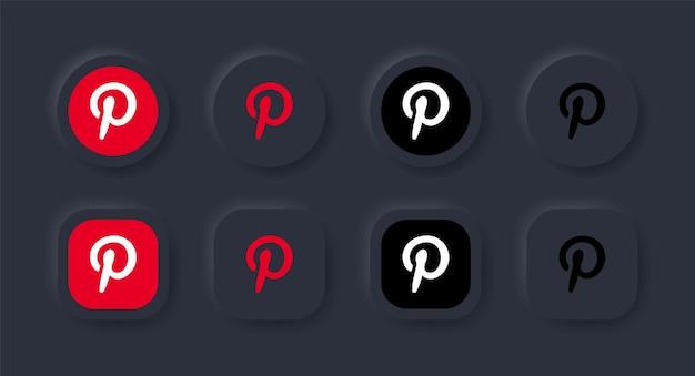 Icona del logo pinterest neumorfico nel pulsante nero per i loghi delle icone dei social media nei pulsanti del neumorfismo