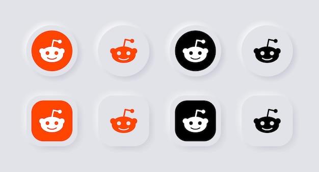 Icona del logo reddit neumorfico per i più popolari loghi delle icone dei social media nei pulsanti del neumorfismo ui ux