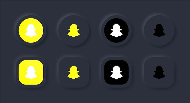 Icona del logo snapchat neumorfico nel pulsante nero per i loghi delle icone dei social media nei pulsanti del neumorfismo