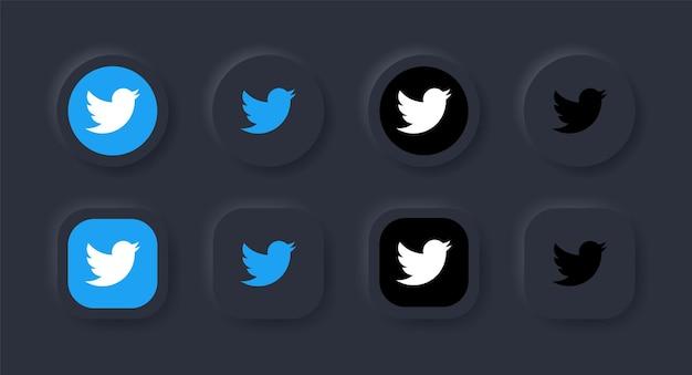 Icona del logo twitter neumorfico nel pulsante nero per i loghi delle icone dei social media nei pulsanti del neumorfismo