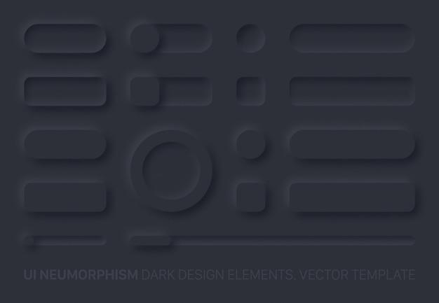 Gli elementi di design dell'interfaccia utente neumorfica hanno impostato la versione scura. componenti dell'interfaccia utente e pulsanti di forme, barre, commutatori, cursori in stile neomorfico alla moda semplice ed elegante per app, siti web, interfacce