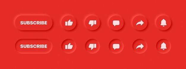 Pulsanti del sito web di elementi di design dell'interfaccia utente neumorfica su sfondo rosso astratto
