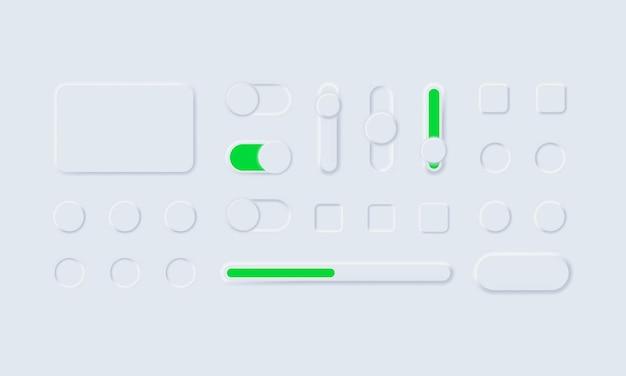 Pulsanti web dell'interfaccia utente bianca ux neumorfa e cursori dell'interfaccia utente