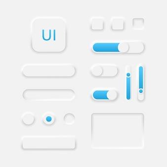 Gli elementi dell'interfaccia utente neumorphic per le icone dell'interfaccia utente dell'app mobile impostano il design in stile neumorphism