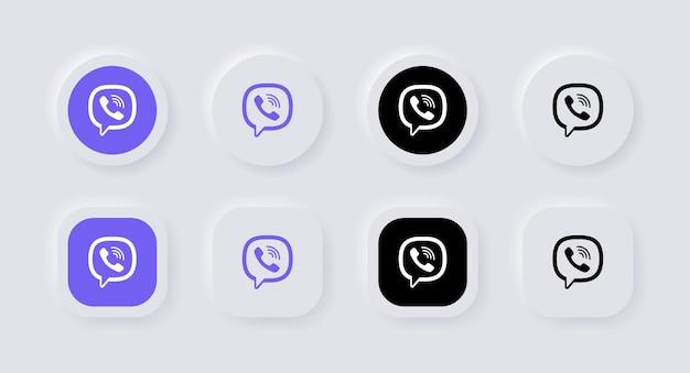 Icona del logo viber neumorfico per i più popolari loghi delle icone dei social media nei pulsanti del neumorfismo ui ux