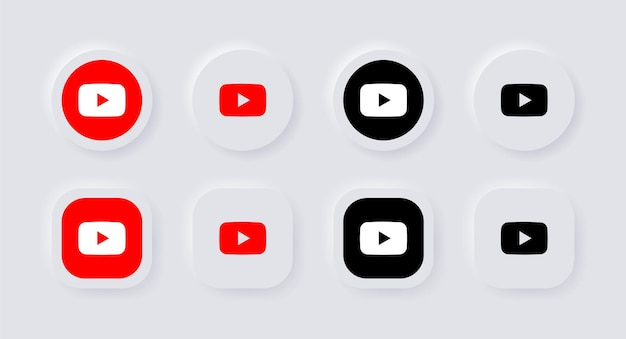 Icona del logo di youtube neumorphic per le icone dei social media popolari loghi nei pulsanti di neumorfismo ui ux