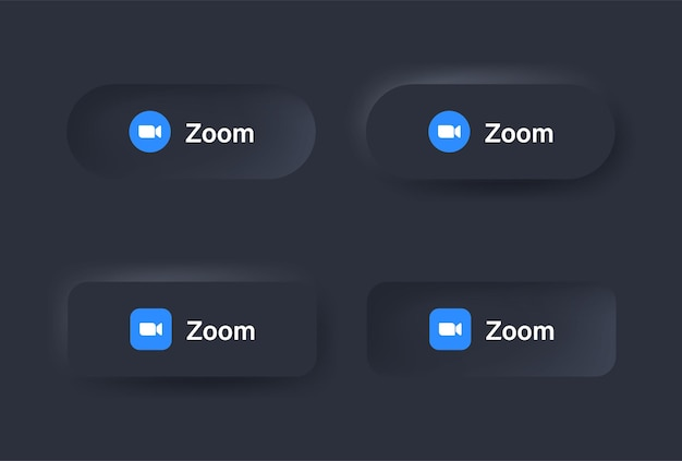 Icona del logo della riunione con zoom neumorfico nel pulsante nero nei loghi delle icone dei social media nei pulsanti del neumorfismo