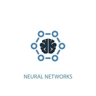 Reti neurali concetto 2 icona colorata. illustrazione semplice dell'elemento blu. disegno di simbolo del concetto di reti neurali. può essere utilizzato per ui/ux mobile e web