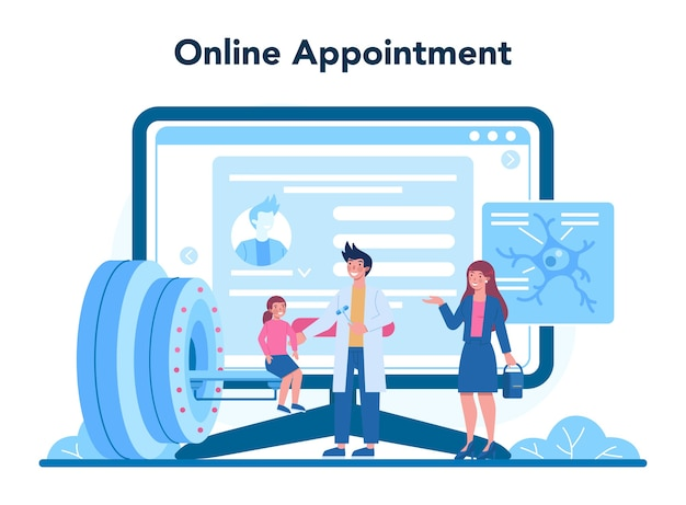 Servizio online di neurologo o illustrazione della piattaforma
