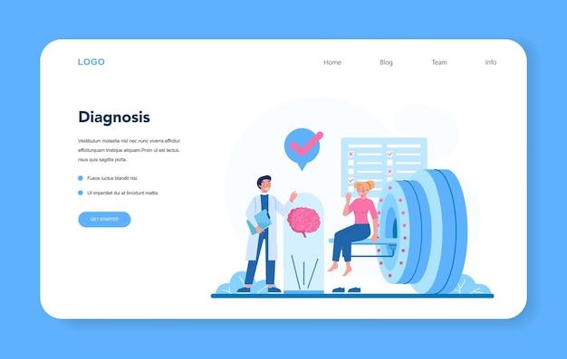 Banner web o pagina di destinazione del neurologo. il dottore esamina