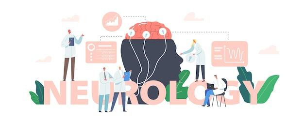 Concetto di neurologia. dottore neurologo, neuroscienziato, medico personaggi studiano il cervello collegato al display con poster, banner o volantini medici di indicazione eeg. cartoon persone illustrazione vettoriale