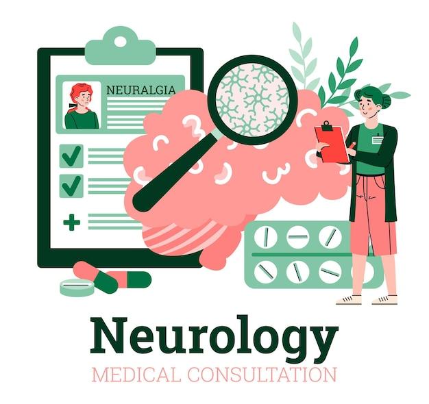 Illustrazione di vettore del fumetto dell'insegna di pubblicità di consultazione medica di neurologia