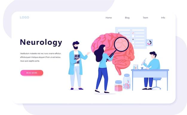 Concetto di banner web di neurologia. idea di trattamento medico