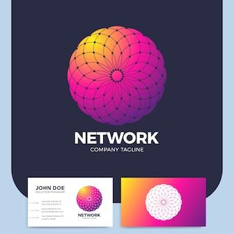 Neuron logo lettera o cerchio o logo della rete a punti astratti