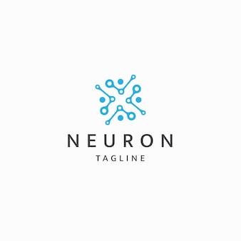 Vettore piatto del modello di progettazione dell'icona del logo del neurone