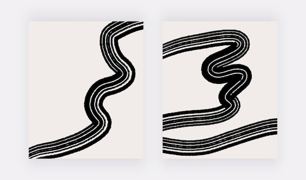 Stampe murali astratte neutre con linee nere a mano libera