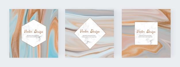 Inchiostro liquido neutro con striscioni texture glitter oro e cornici in marmo