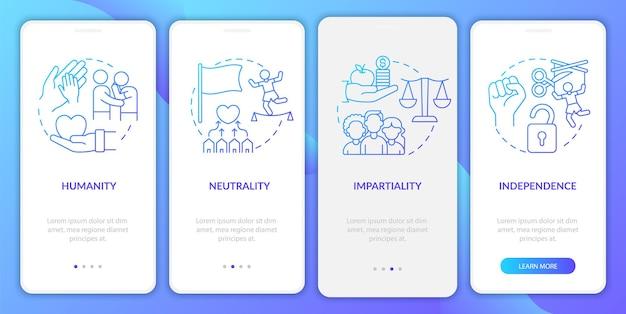 Schermata della pagina dell'app mobile onboarding neutrality