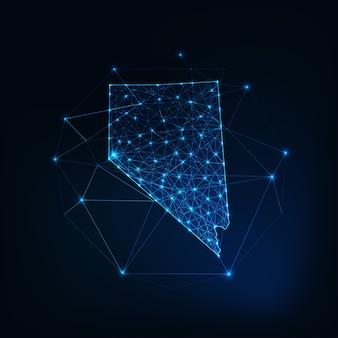 Nevada stato usa mappa sagoma incandescente contorno fatto di stelle linee punti triangoli, forme poligonali basse. comunicazione, concetto di tecnologie internet. wireframe futuristico