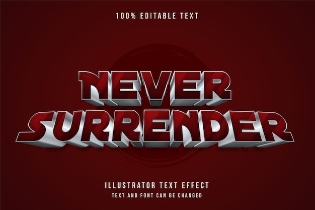 Mai arrendersi, 3d testo modificabile effetto rosso gradazione testo in metallo stile