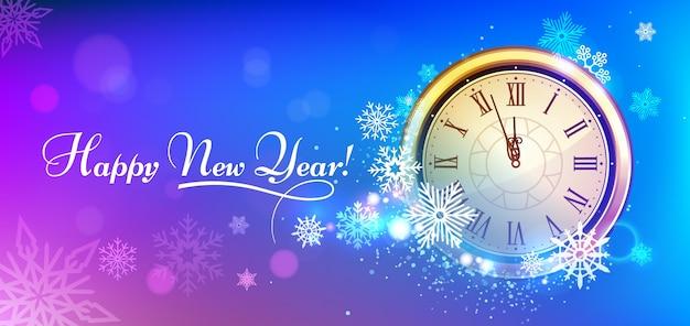 Orologio invernale del nuovo anno 2020.