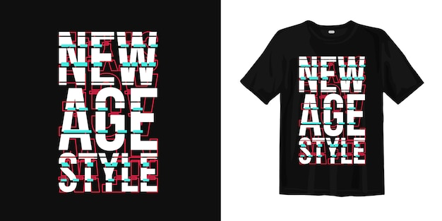 Design con stampa t-shirt stile new age con tipografia glitch