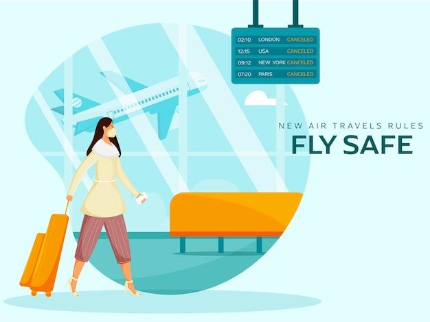 Le nuove regole del viaggio aereo volano al sicuro poster con una giovane donna turistica all'aeroporto. evita il coronavirus.